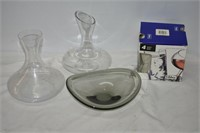 Smokey Glass Bowl, Vases & (4) Matching Glasses