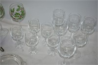 Box of Stemware, Pyrex & Serving Dishes