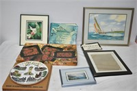 Grouping of Framed Paintings, Trays, & Books