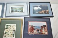 (6) Pictures & Frames Including Blue Water Bridge