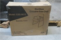 Essentials Leather Executive Sled Base Side Chair