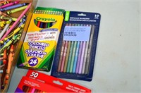 Tray of Drawing and Craft Supplies