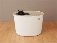 Top Entry White Cat Litter Box