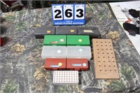 Lot of Empty Handgun Ammo Boxes and Case Block