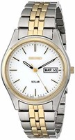 Seiko Men's SNE032 Two-Tone Solar White Dial
