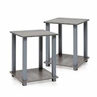(2) Furinno 12127GYW/GY Simplistic End Table