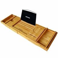 Slashome Bamboo Luxury Bathtub Caddy Tub Organizer