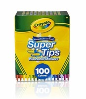 """""""As Is"""" Crayola Super Tips Washable Markers, 100"""