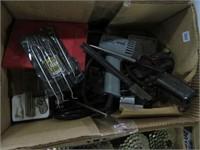 Box w/ stripper, solder gun and battery