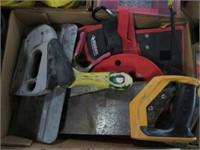 Box w/ stapler, saws and tool belt