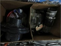 2 Boxes of plubing parts, clamps etc