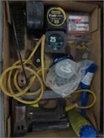 Box w/ stapler, tape measures etc