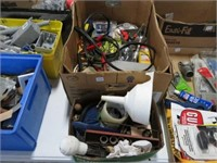 2 Boxes of drill bits, sockets, hardware etc