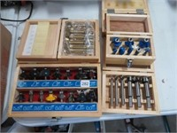 Group of assorted router bits