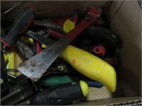 Box of screwdrivers, pry bars etc