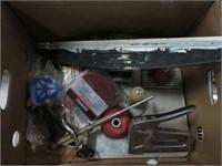 Box w/ stapler, spray gun, wire wheels etc