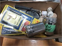 2 Boxes of light bulbs, rca cords etc
