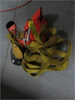 Ratchet strap, safety harness and vest