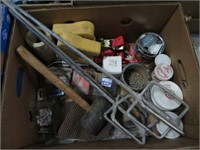 Box of hardware, mallet and paint stir rods