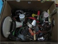 Box of screws, tape measures etc