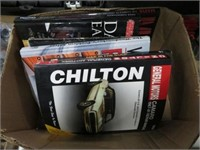 2 boxes of chiltons books and hardware