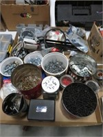 2 Boxes of screws, nails and electrical items etc
