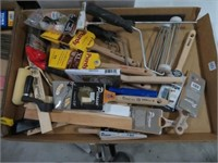 3 boxes of paint brushes, rollers and trays