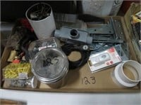 2 boxes of hinges, electrical items etc