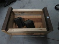 Wooden box and 2 wheel chalks