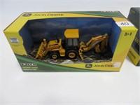 John Deere backhoe and bulldozer w/ box Ertl 1/50