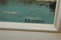 "(2) Signed Oil on Board Framed 13"" x 23"""
