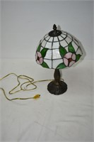"Cast Stained Glass Table Lamp 16"" T (works)"