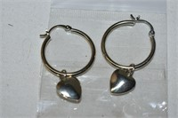 Silver Heart Hoop Earrings