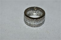 Silver Crystal Band Ring size 6.5
