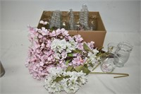 (8) Clear Glass Vases with Flowers