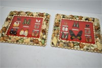 (2) Butterfly Displays with Shell Frames