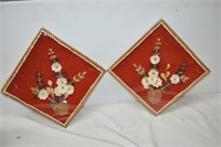 """(2) Square Shell Wall Hangings 12"""" x 12"""""""