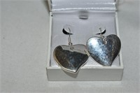 (925) Large Silver Heart Earrings