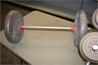 Group of Barbells with Stand & Weighted Bar