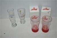 (4) Budweiser Beer Glasses
