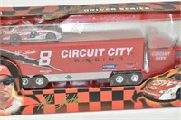 """Racing Champions 10"""" Tractor Trailer with Car"""