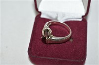 Sterling Silver Ring with Garnets Stamped 925