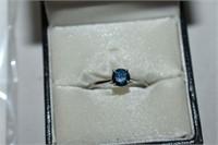 Blue Diamond Ring 10k White Gold Size 6.75