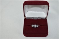 Sterling Silver Sapphire (0.75ct) and White CZ