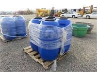 (4) 55 Gallon Plastic Barrels w/Screw On Lids