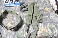 Lot of Military Gear Suspenders and Web Belt