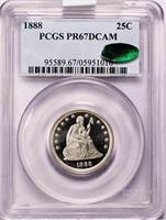 25C 1888 PCGS PR67 DCAM CAC