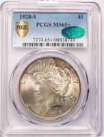 $1 1928-S PCGS MS65+ CAC