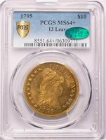 $10 1795 13 LEAVES. PCGS MS64+ CAC