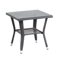 PATIOFLARE WICKER TABLE WITH GLASS